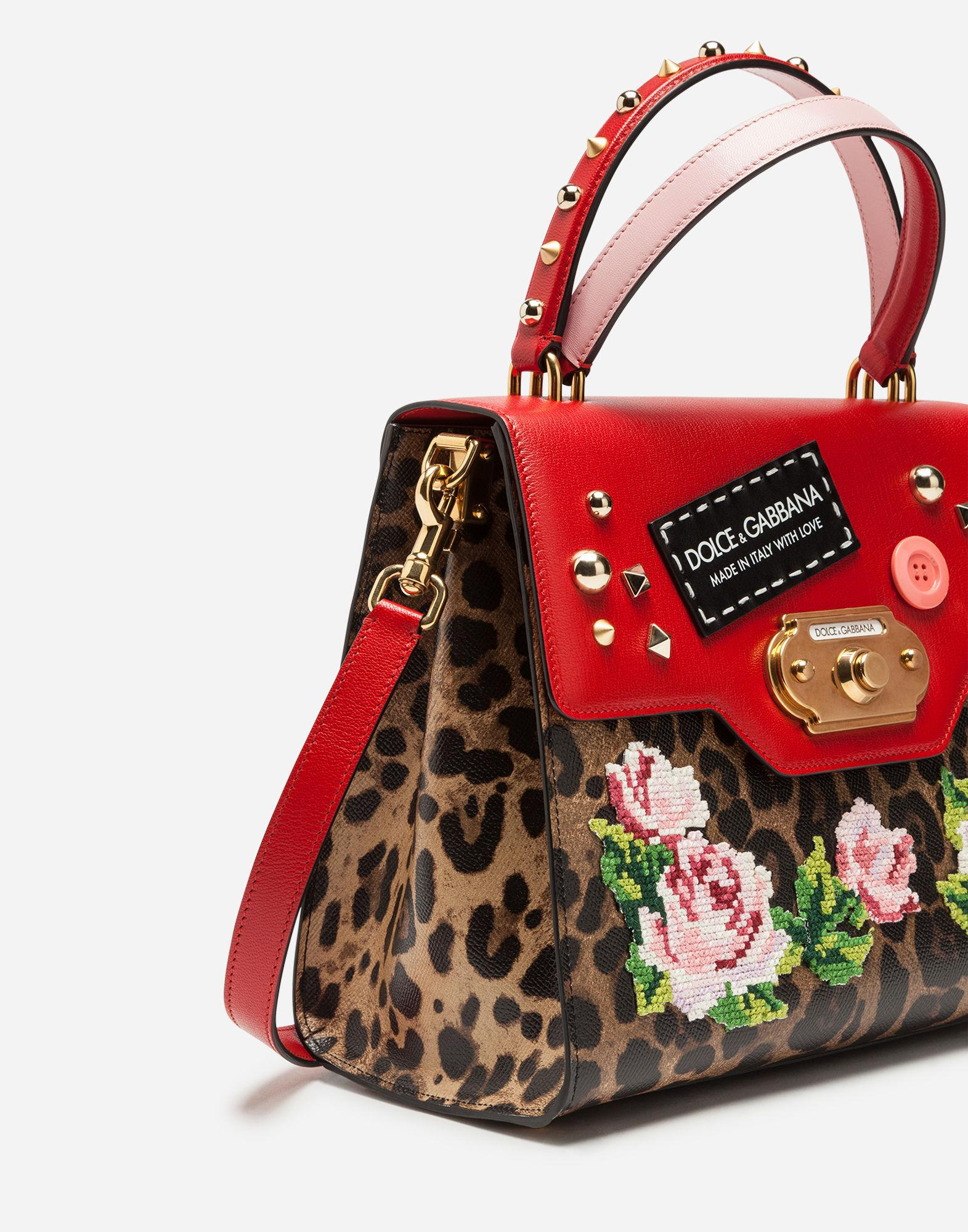 Lyst Dolce Gabbana Welcome Bag Handbag In Two Materials With Embroidery Red