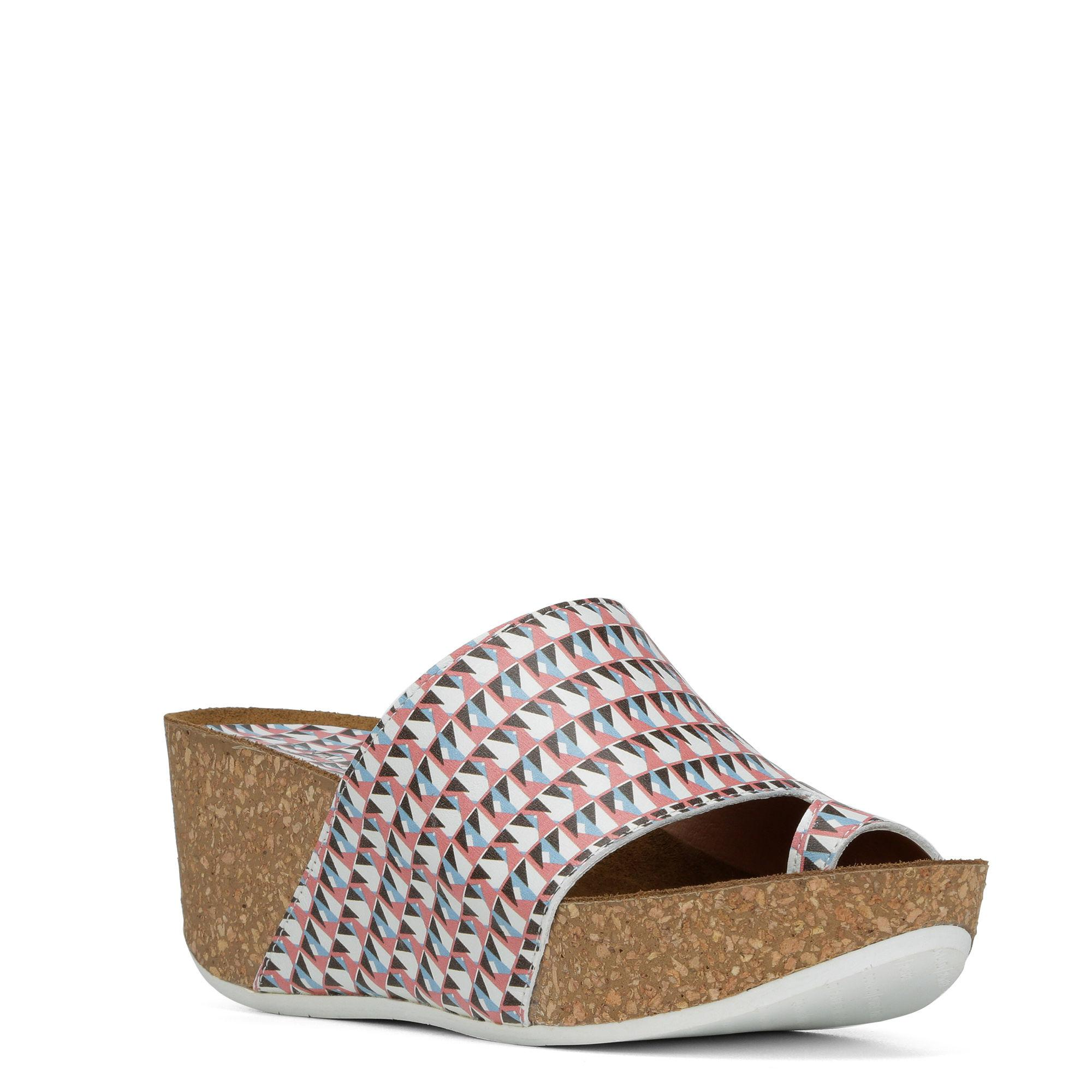 Ginie Geo Print Leather Wedge Sandals sfPS8a3iS