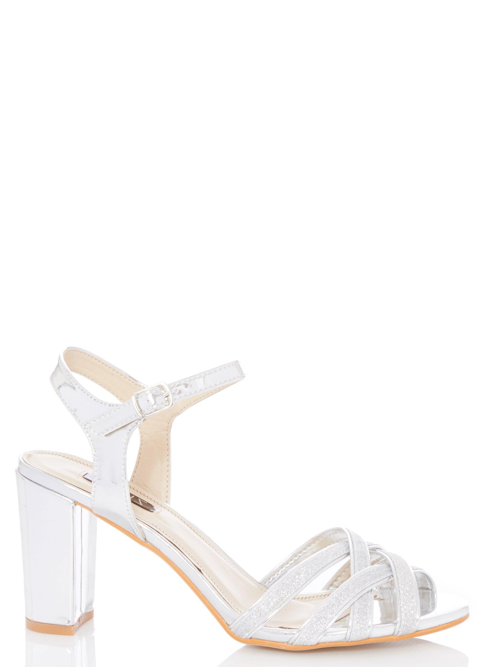 e68d3f54265 Dorothy Perkins Quiz Glitter Block Heel Sandals in Metallic - Lyst