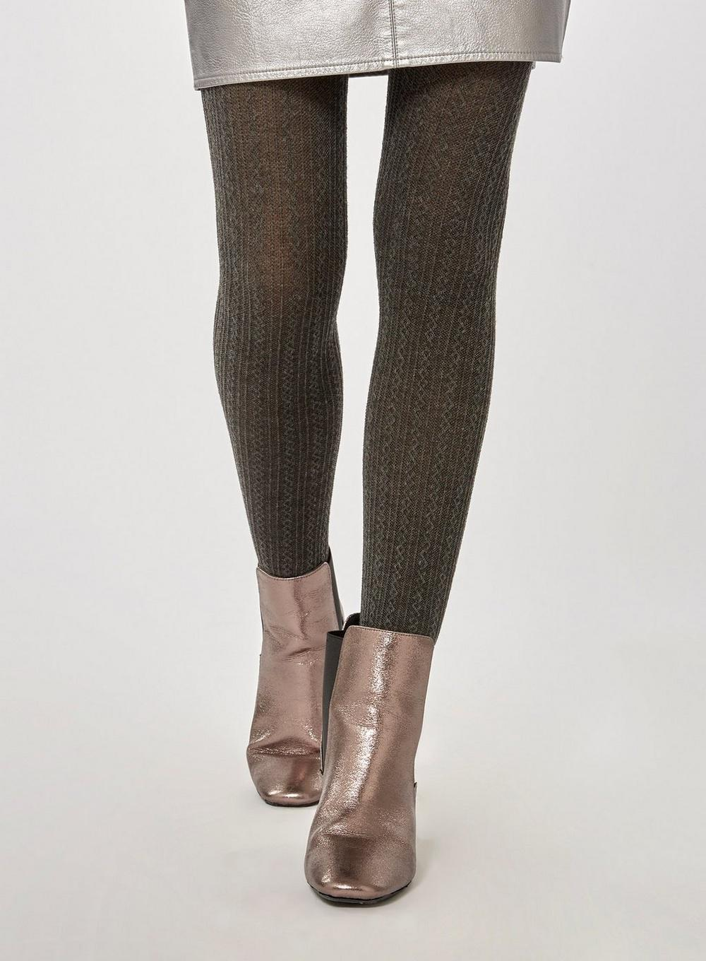 20377f56d1b4b0 Lyst - Dorothy Perkins Grey 1 Pack Cable Knit Tights in Gray