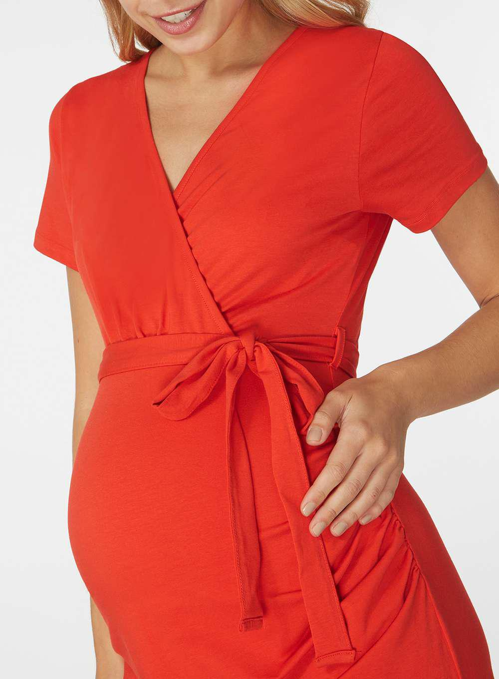 ea866e09c29fd Lyst - Dorothy Perkins Maternity Red Short Sleeve Tie Wrap Dress in Red