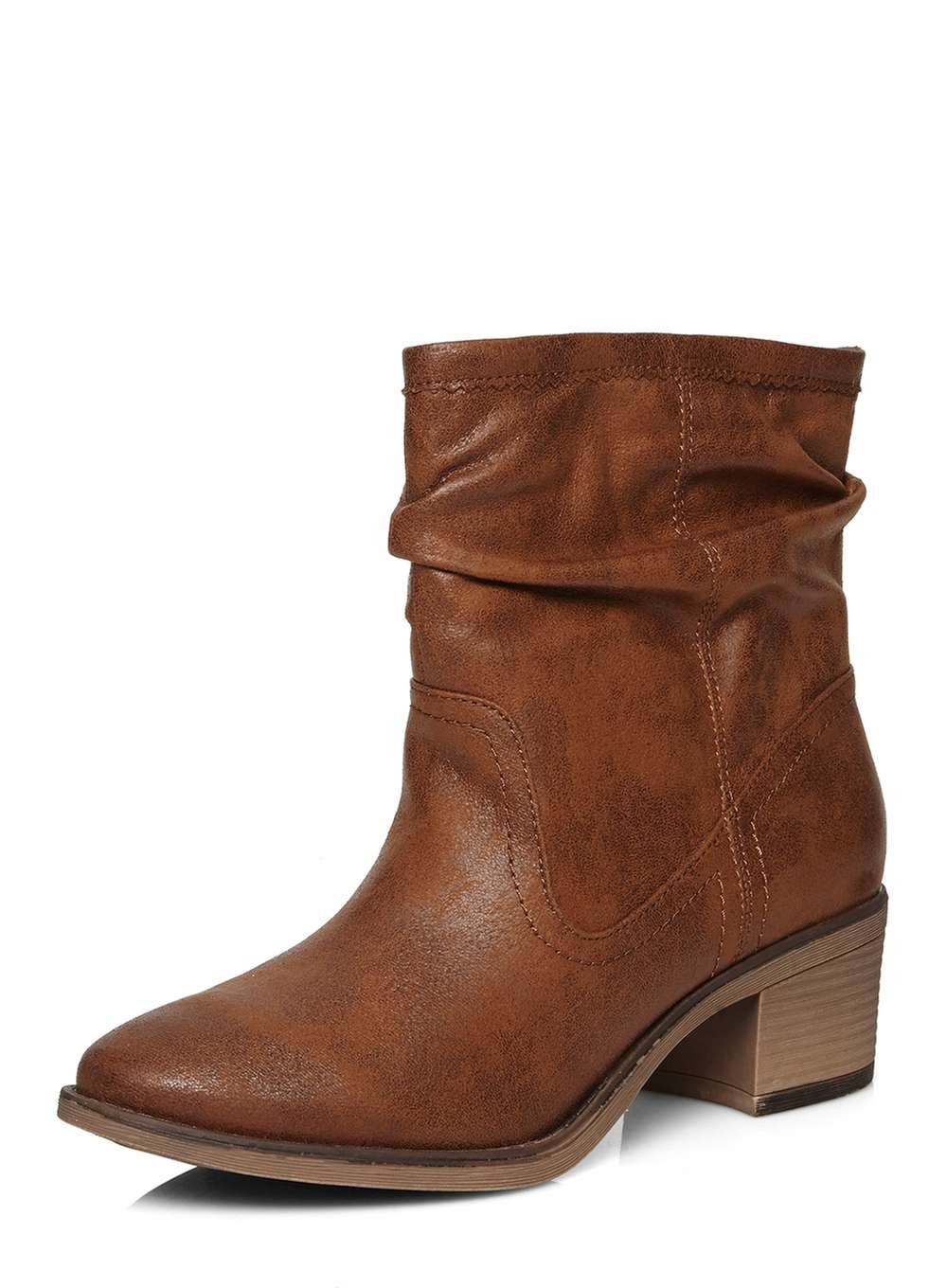 dorothy perkins slouch boots in brown lyst