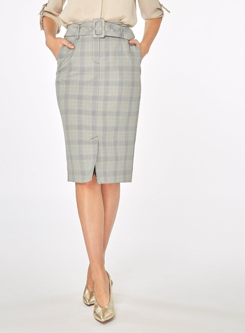 Dorothy Perkins Womens Multi Coloured Checked Belted Pencil Skirt- Classic mKAqV0f