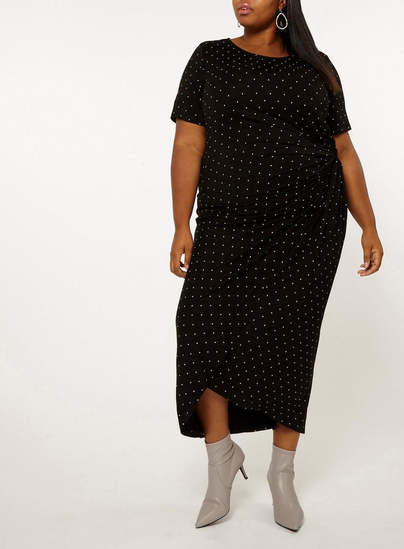 e0f3affae40 Lyst - Dorothy Perkins Dp Curve Black Spotted Shift Dress in Black
