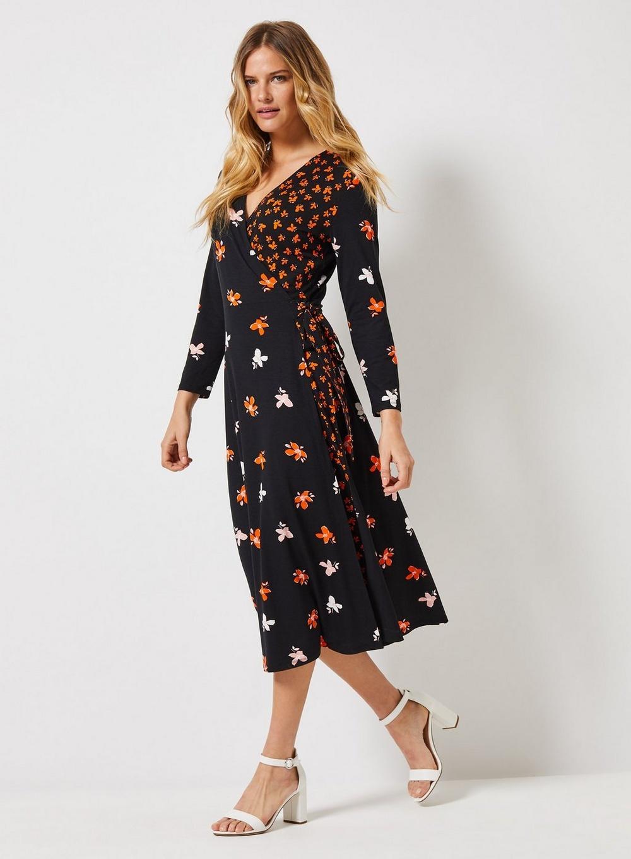 b5b3bf8522d Dorothy Perkins Tall Black Floral Print Tea Dress