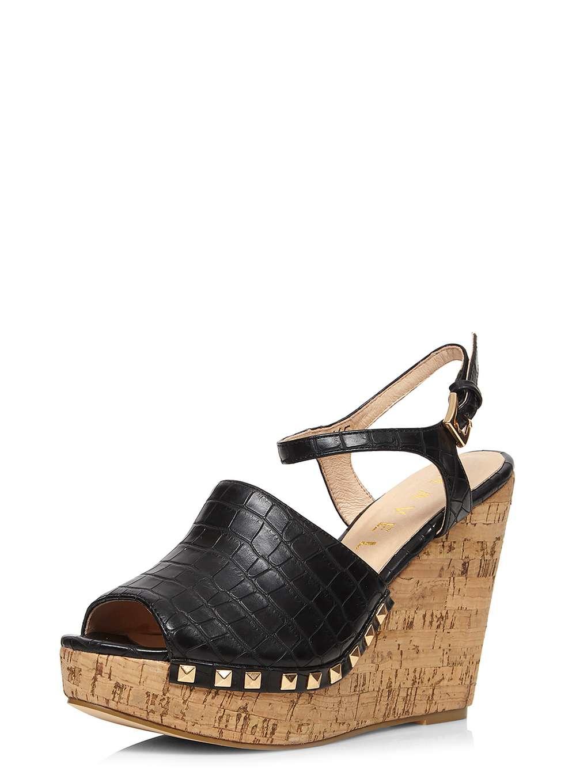 dorothy perkins ravel black cork wedge sandals in black lyst