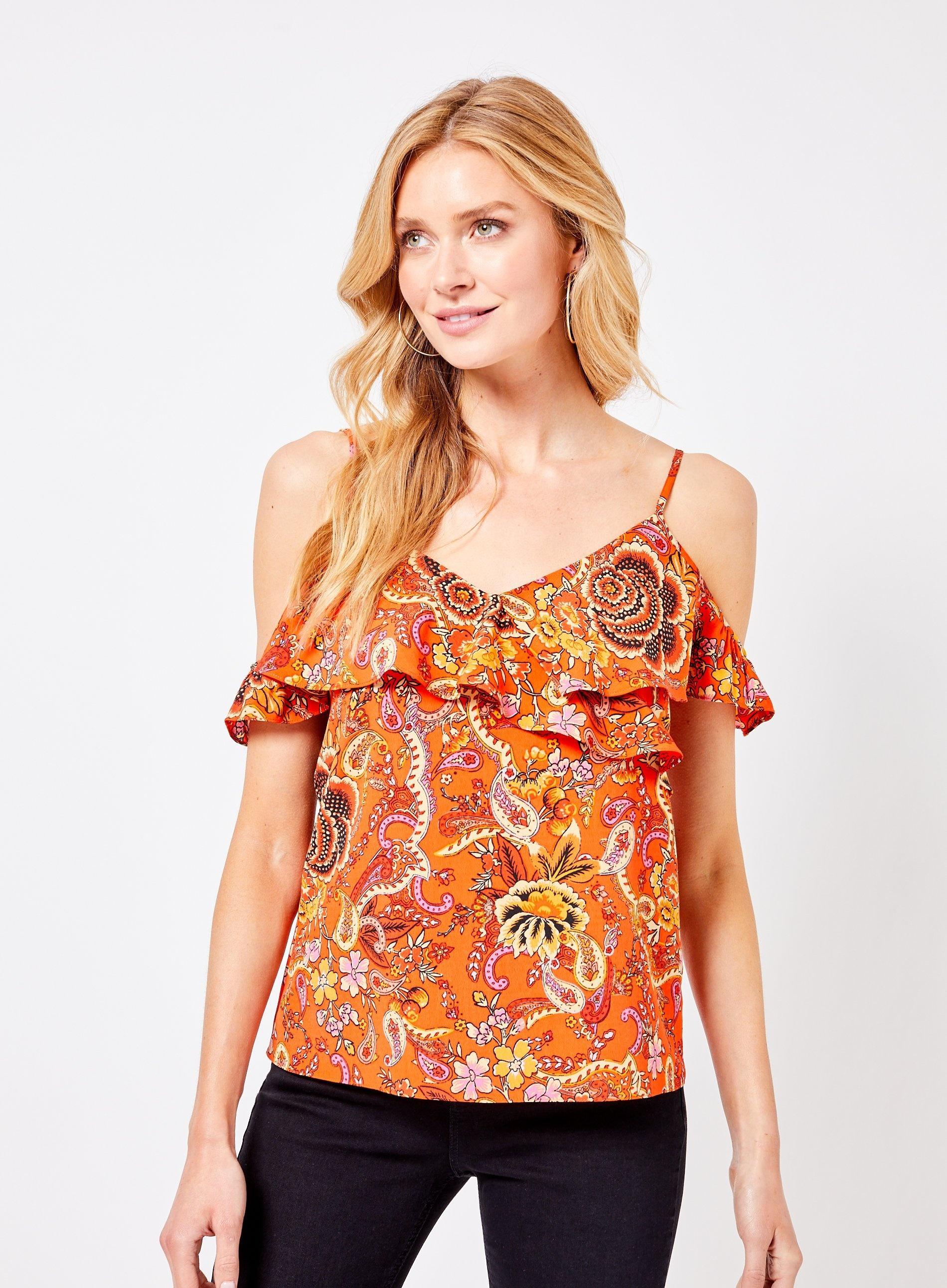 947193fdafe0d0 Dorothy Perkins Orange Paisley Print Cold Shoulder Top in Orange - Lyst