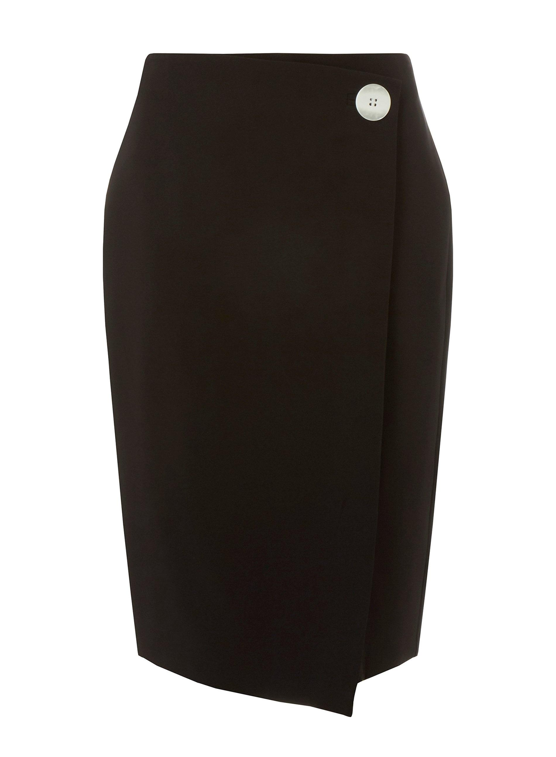 2a71970f87 Lyst - Dorothy Perkins Black Contrast Button Wrap Skirt in Black