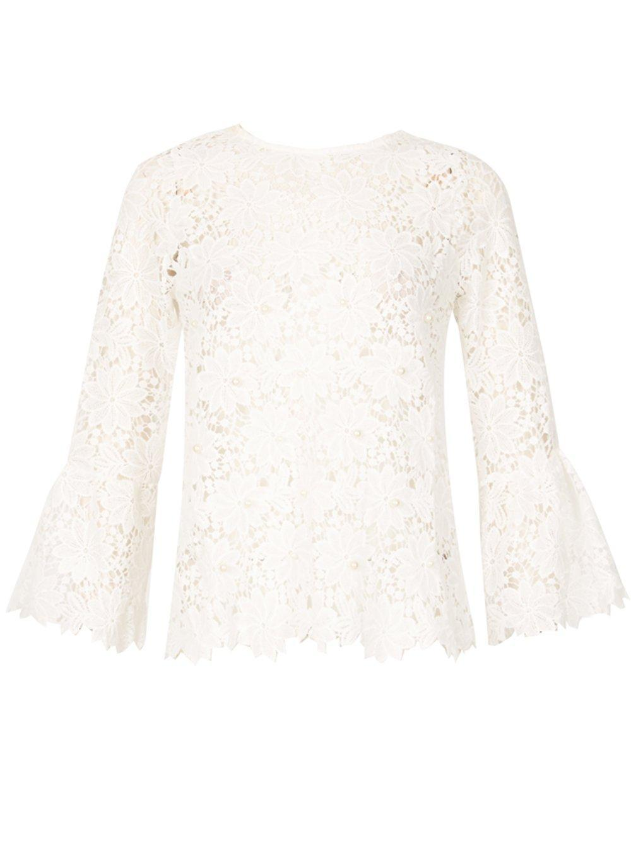 Dorothy Perkins Womens *Blue Vanilla Lace Pearl Detail Top- Deals Sale Online qblP1W