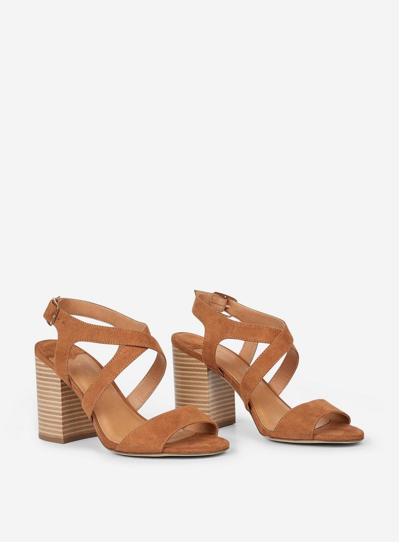 70c95cbf3298 Dorothy Perkins Wide Fit Tan  spye  Crossover Sandals in Brown - Lyst