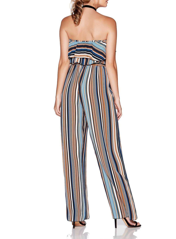 48f7b65266e Lyst - Dorothy Perkins Quiz Multi Coloured Striped Strapless ...
