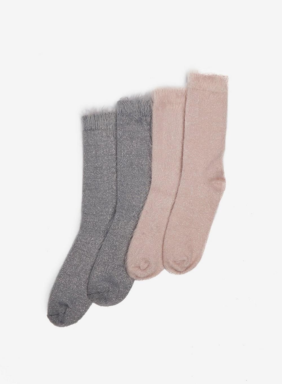 Lyst - Dorothy Perkins Grey And Pink 2 Pack Eyelash Yarn Socks in Pink