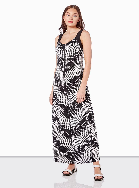 2b6b6056078e Dorothy Perkins Roman Originals Monochrome Maxi Dress in Black - Lyst
