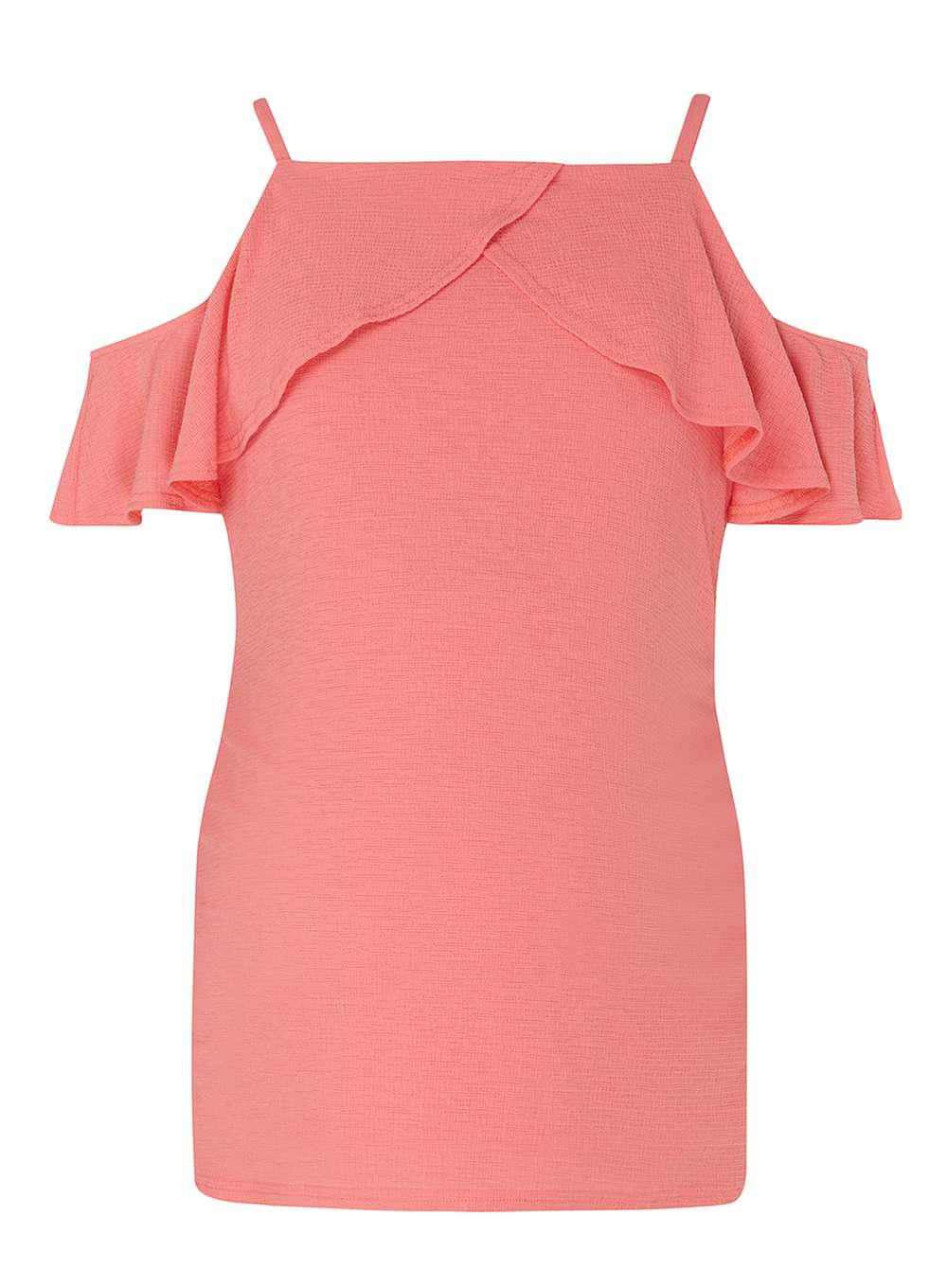 25fa30909b895 Dorothy Perkins Maternity Coral Ruffle Tie Cold Shoulder Top in Pink ...