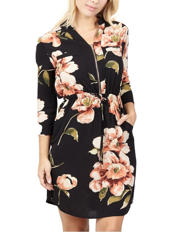 Dorothy Perkins Izabel London Black Floral Shirt Dress in Black - Lyst dfa000622