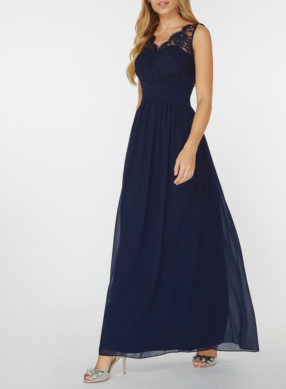 8c2792b98 Dorothy Perkins Showcase Navy Josie Lace Maxi Dress in Blue - Lyst