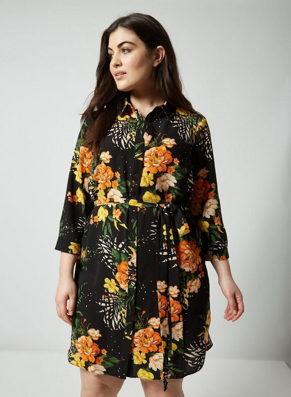 0e674c31c7d Dorothy Perkins Dp Curve Black Floral Mix Print Shirt Dress in Black ...