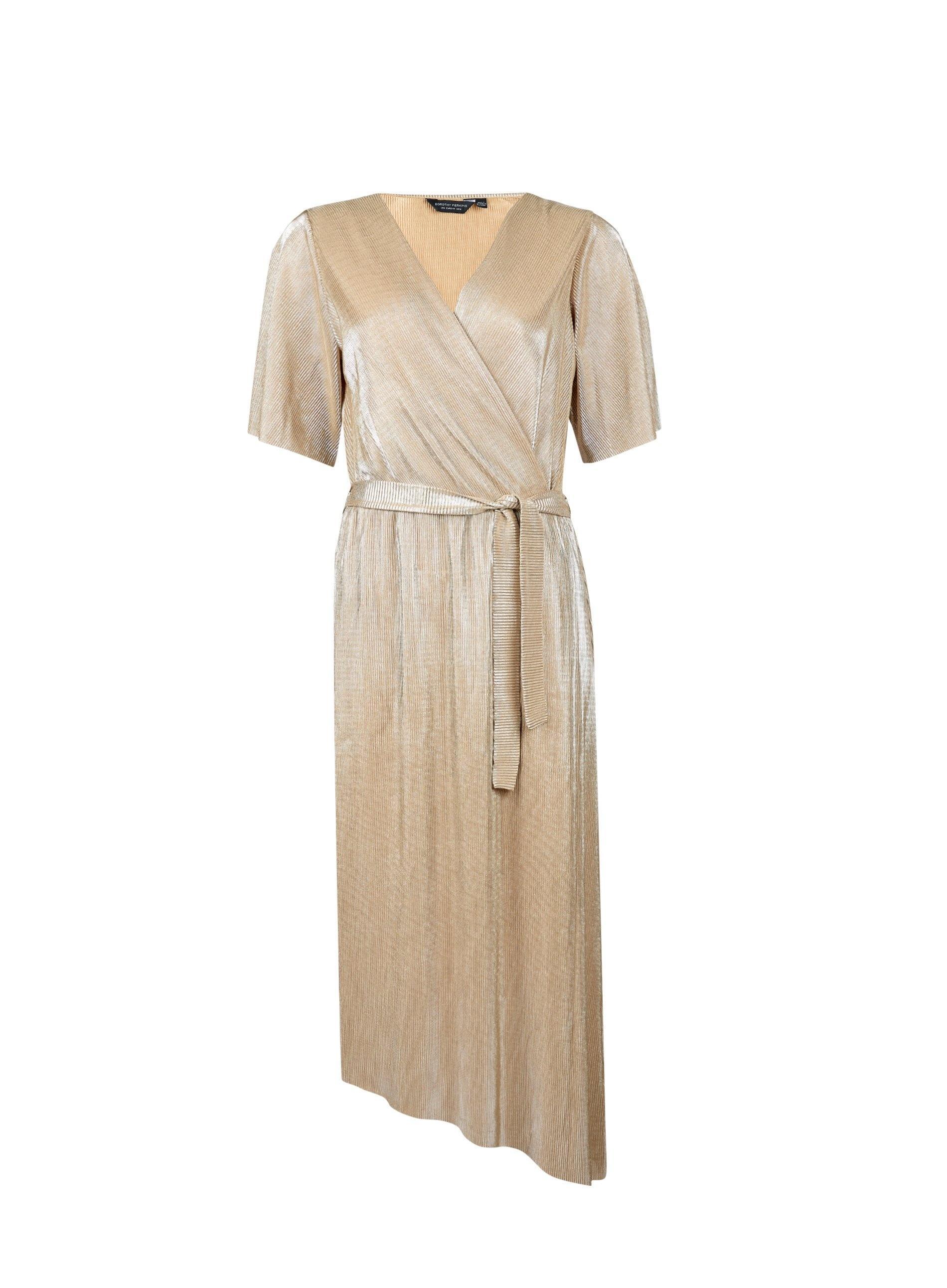 2489ada6680 Lyst - Dorothy Perkins Gold Plisse Asymmetrical Kimono Wrap Midi ...