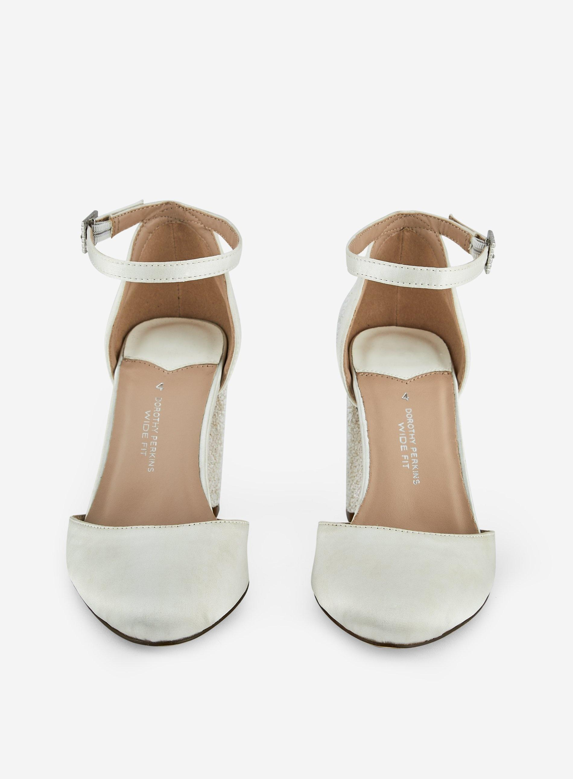 c5e486e760b6 Dorothy Perkins - Wide Fit White 'mimosa' Glitter Block Heel Court Shoes -  Lyst. View fullscreen