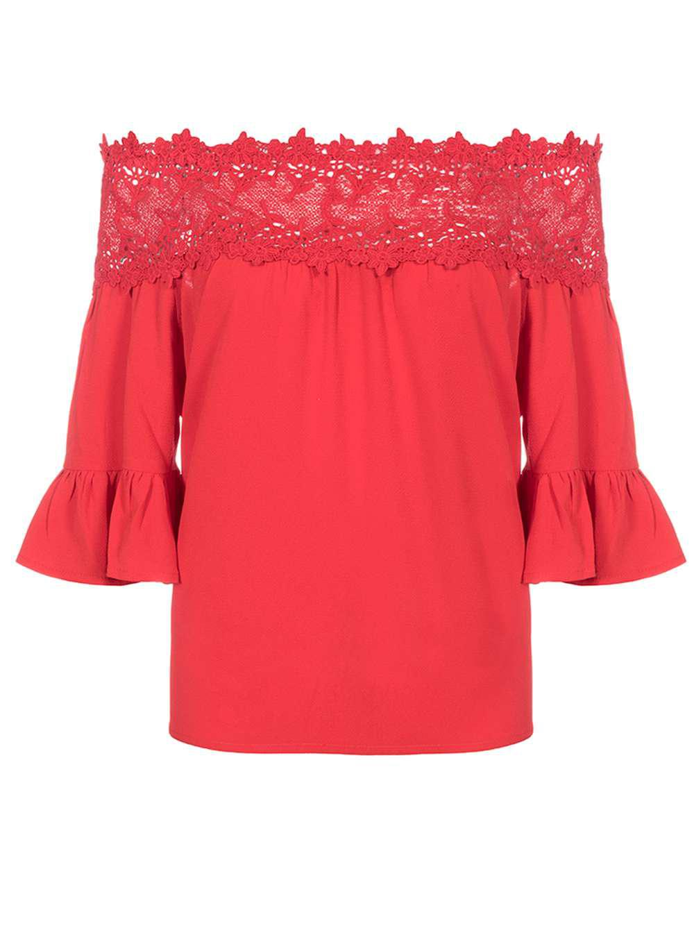 7df917688b3c3d Dorothy Perkins Quiz Red Crochet Trim Bardot Top in Red - Lyst