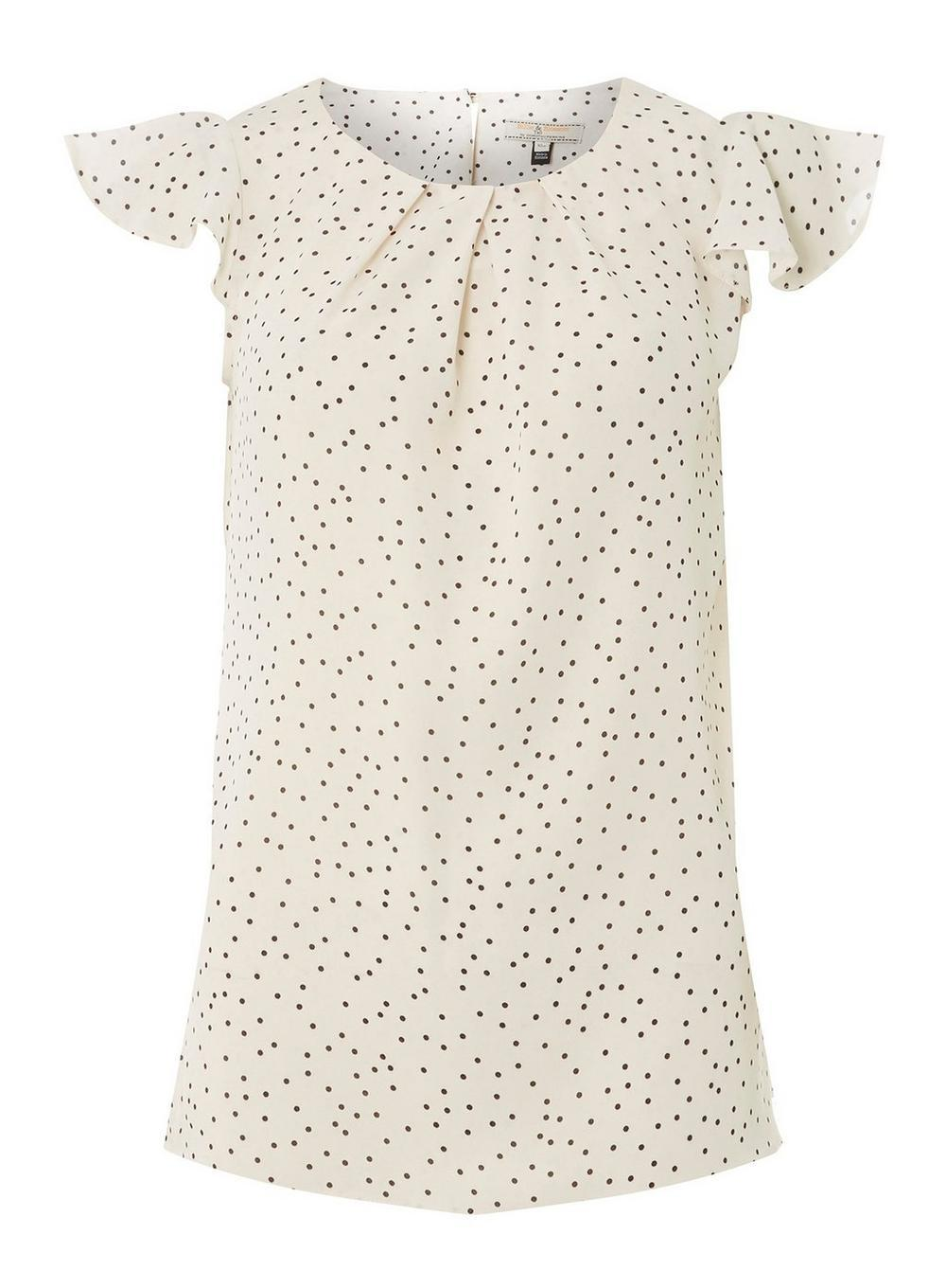 dfb28a4ae52996 Dorothy Perkins Billie & Blossom Tall Black Spot Shell Top in White ...
