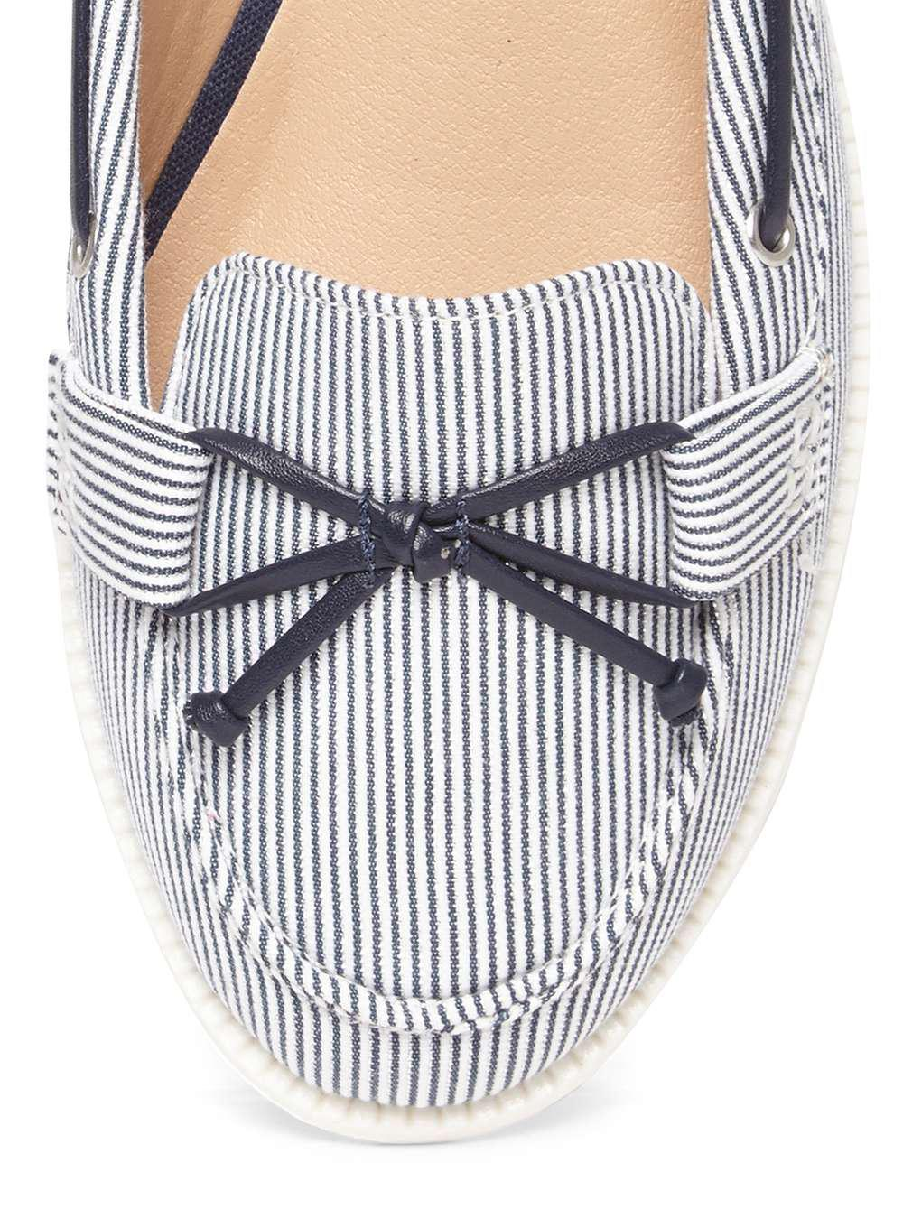 Lyst Dorothy Perkins Wide Fit Navy Stripe Lowe Boat Shoes In Blue Clarette Wedges Coraline Beige Gallery