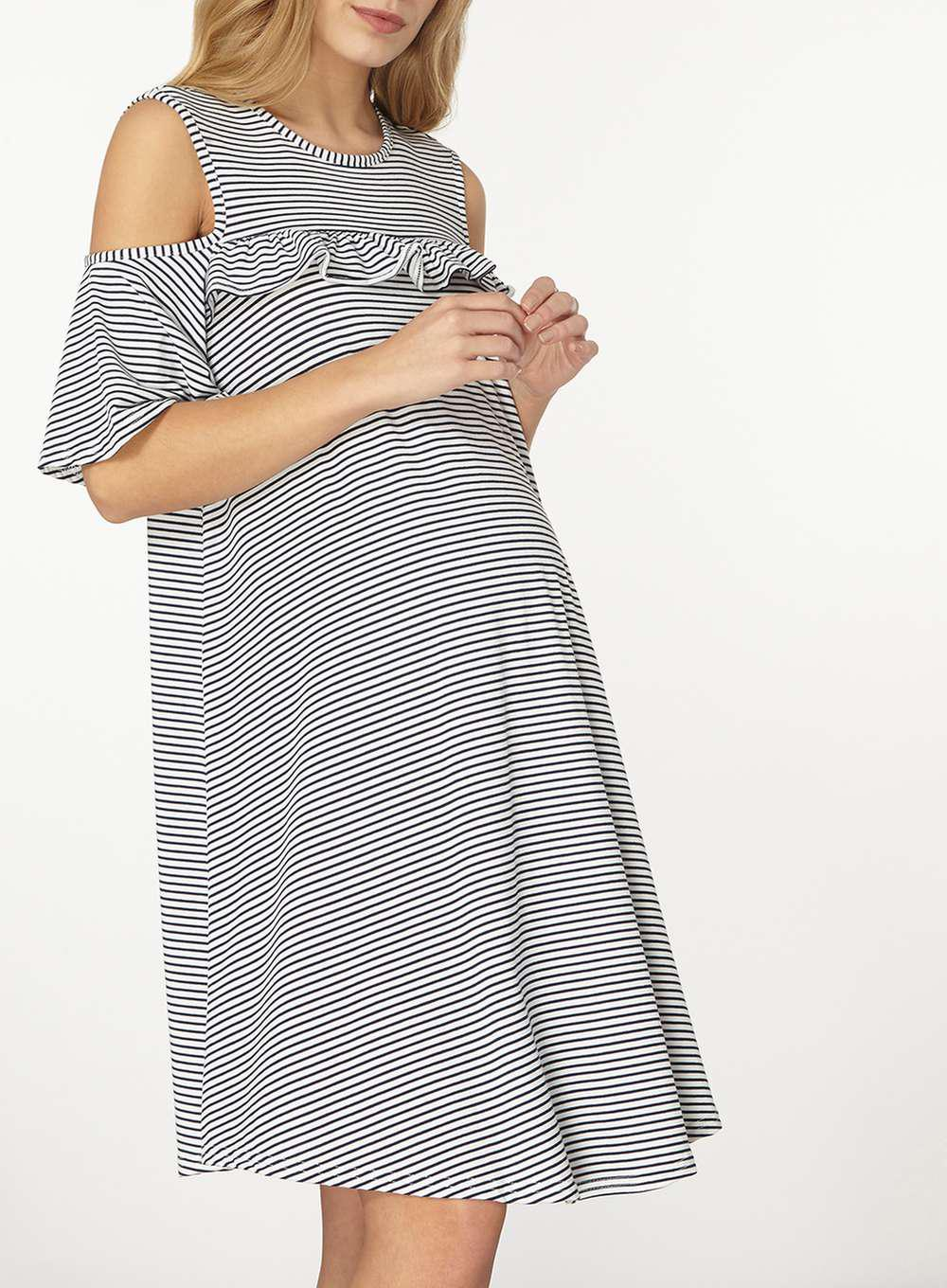 c4f4531ff8 Lyst - Dorothy Perkins Maternity Navy Striped Cold Shoulder Dress in ...