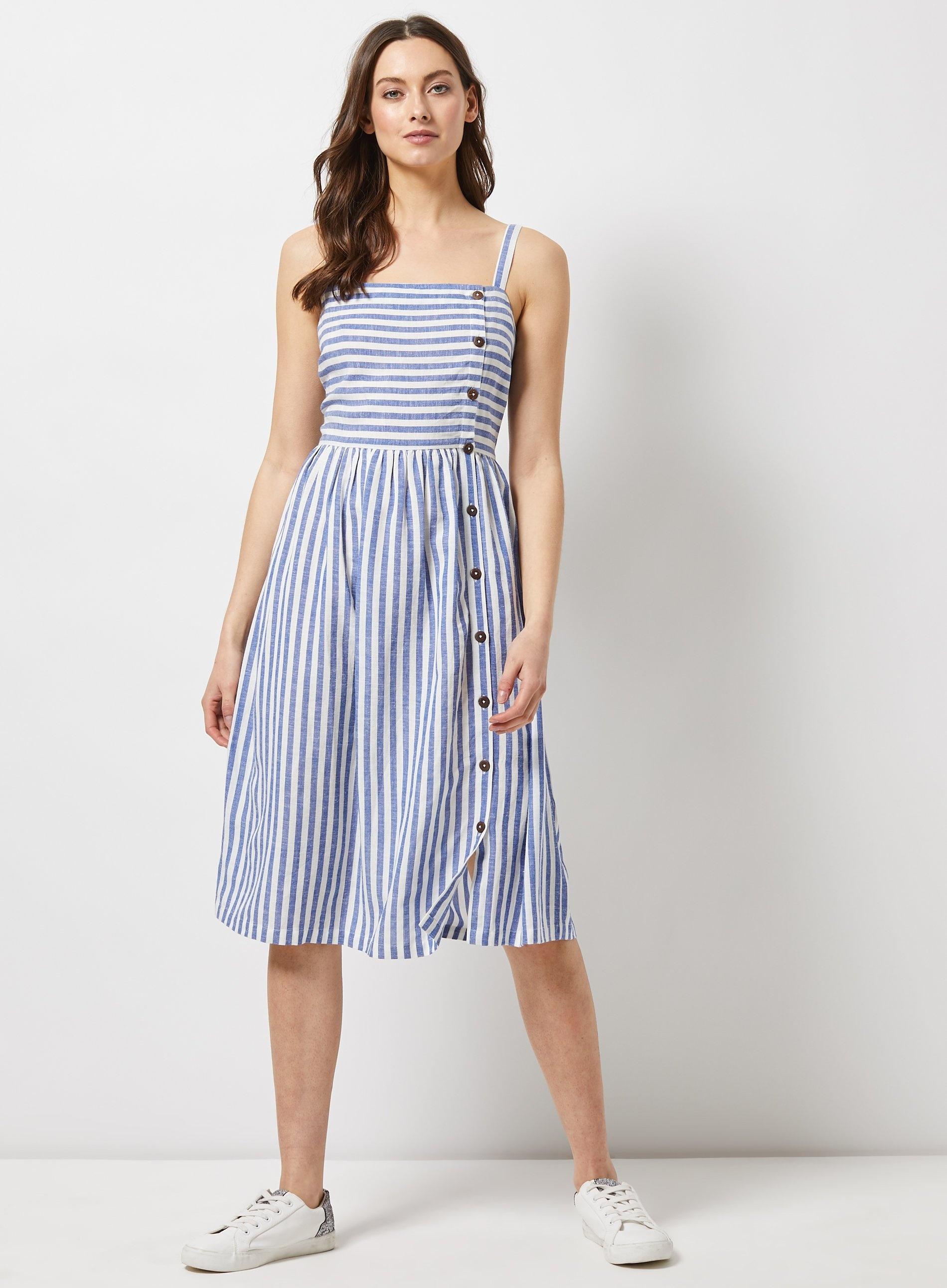 910d282fe6 Lyst - Dorothy Perkins Blue Linen Blend Striped Blend Camisole Dress ...