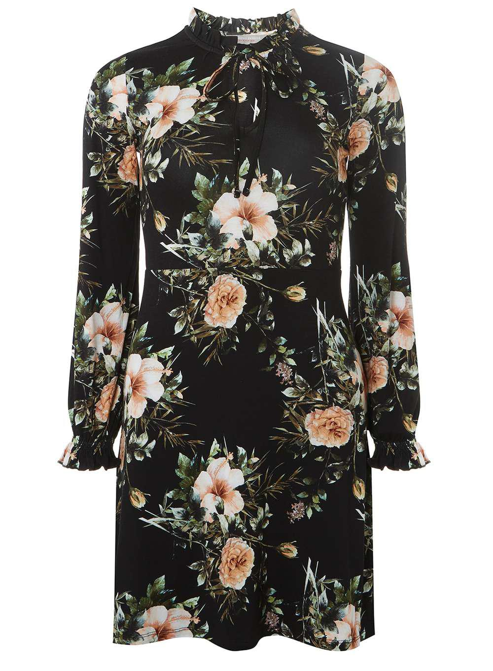 Dorothy Perkins Womens Petite BlackFloral Print Fit and Flare Dress- Buy Cheap Many Kinds Of Discount Largest Supplier Cheap Sale Discount Best Prices Big Sale Cheap Price OKo5UbYsz