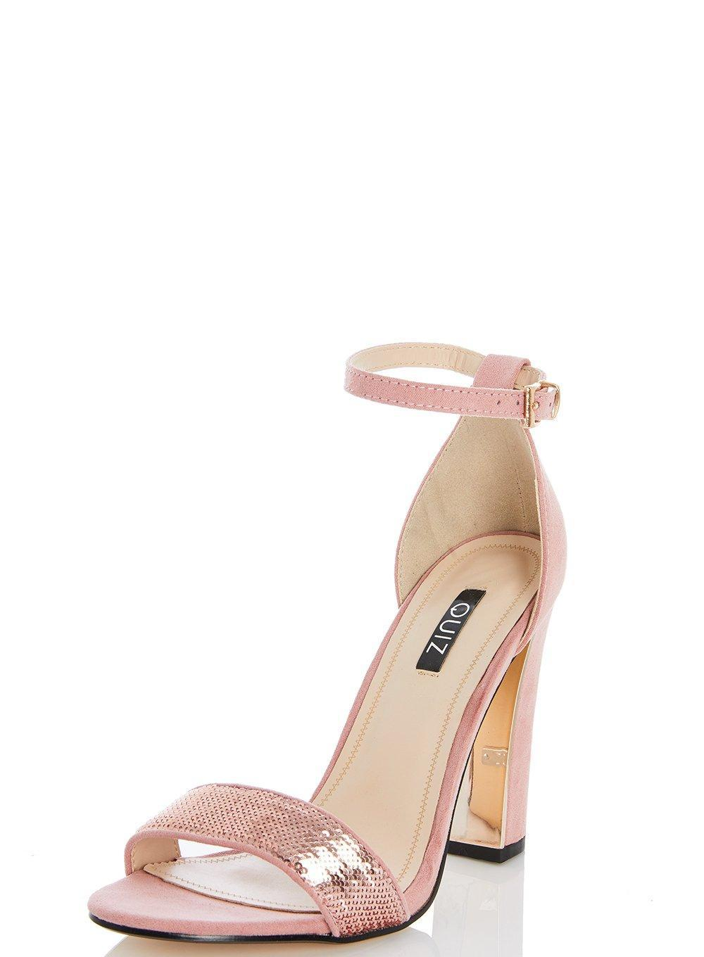 Lyst - Dorothy Perkins Quiz Pink Sequin Block Heel Sandals in Pink dae9a1879f52