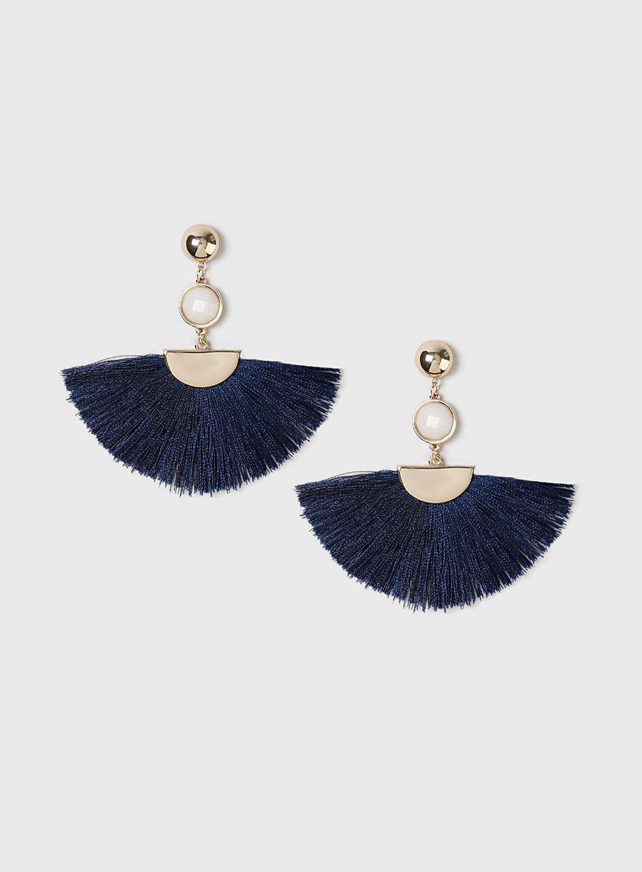 735b1f252 Dorothy Perkins Blue Half Moon Blue Tassel Earrings in Blue - Lyst