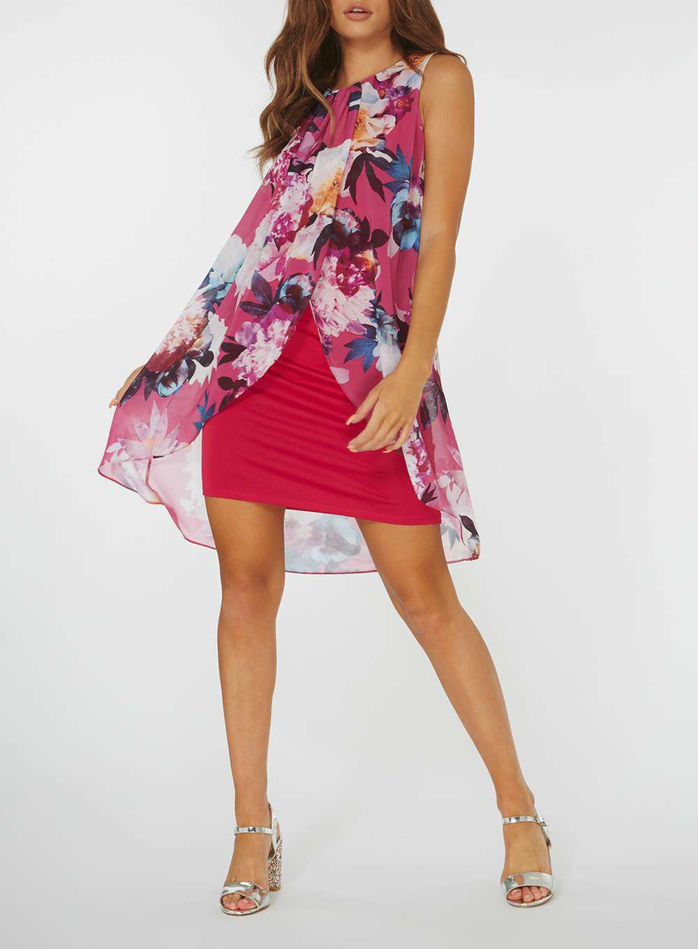 7acbe789bd274 Dorothy Perkins Billie & Blossom Floral Print Trapeze Dress in Pink ...
