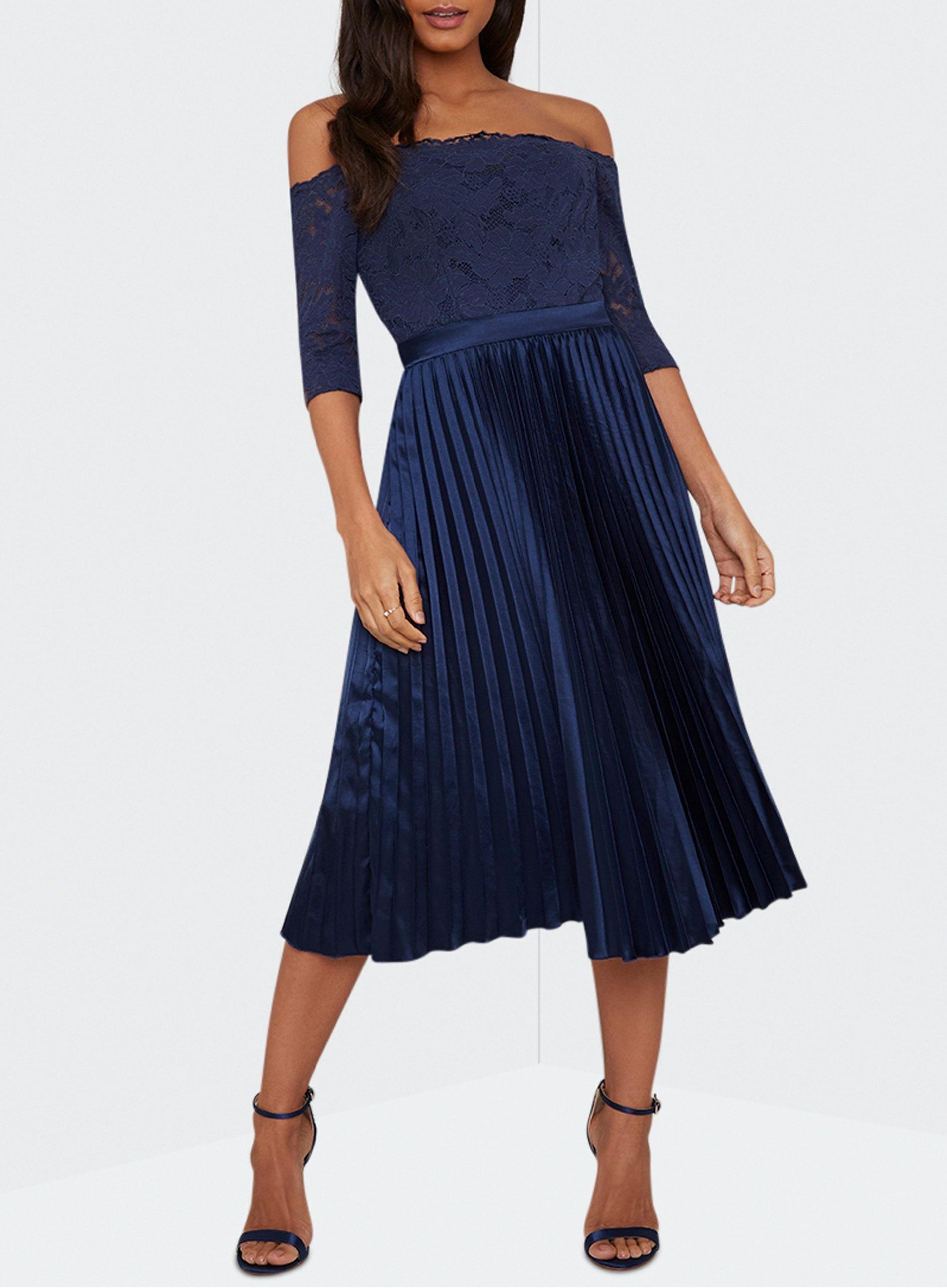 d494dddbd48 Dorothy Perkins - Blue Chi Chi London Navy Bardot Lace Midi Dress - Lyst.  View fullscreen