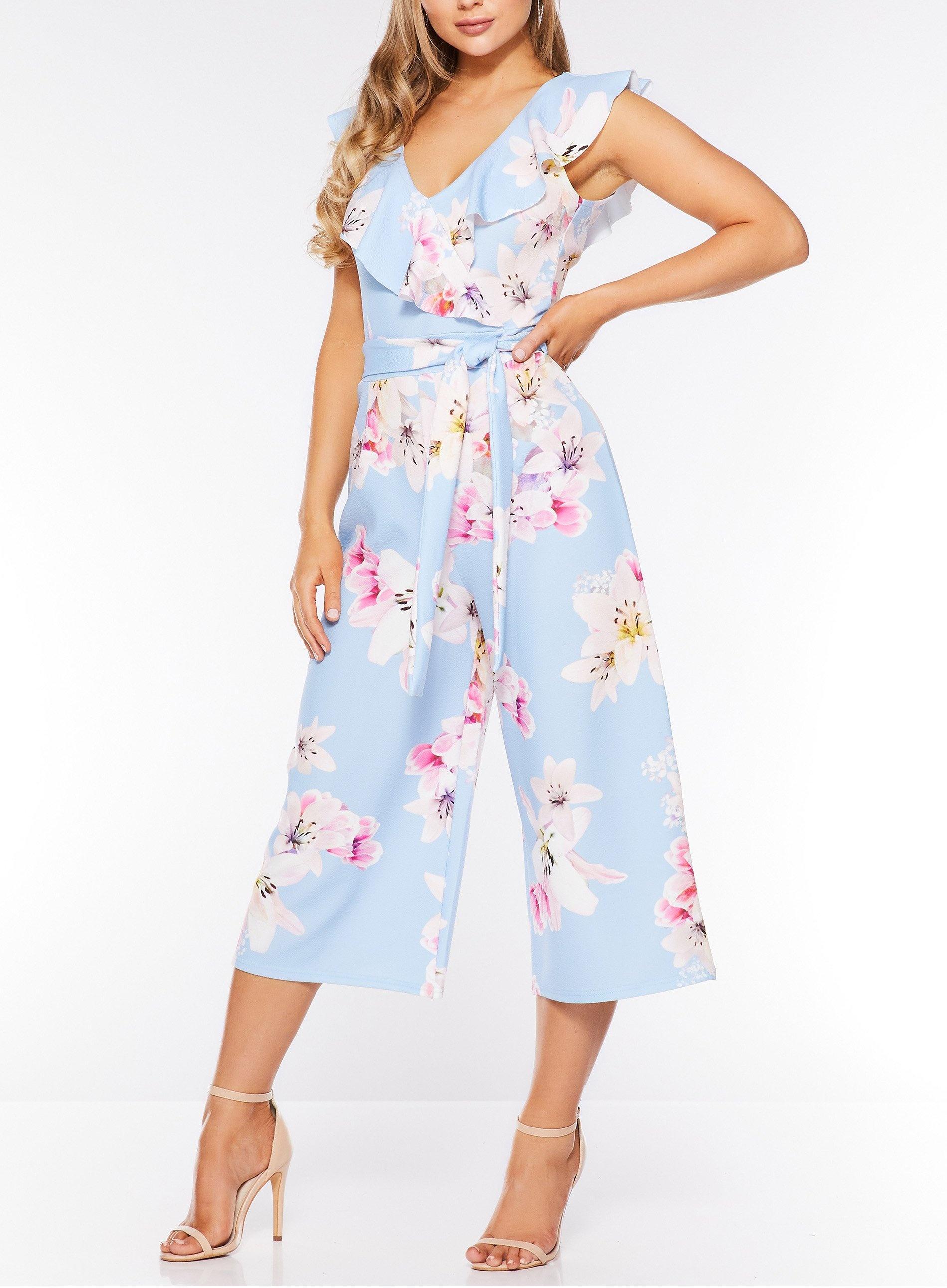 9be260e74b Quiz - Pale Blue Floral Print Culotte Jumpsuit - Lyst. View fullscreen