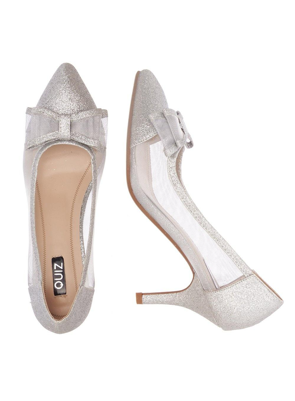 371ba8cd701 ... Metallic Quiz Silver Bow Mesh Point Court Shoes - Lyst. View fullscreen