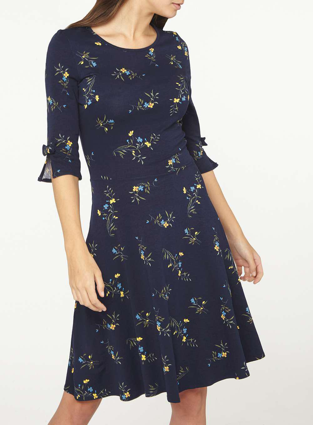 Dorothy Perkins Womens **Tall Navy Ditsy Floral Bow Sleeve Skater Dress- Visit New Sale Online Outlet Shop For Discount With Paypal HCjEm9