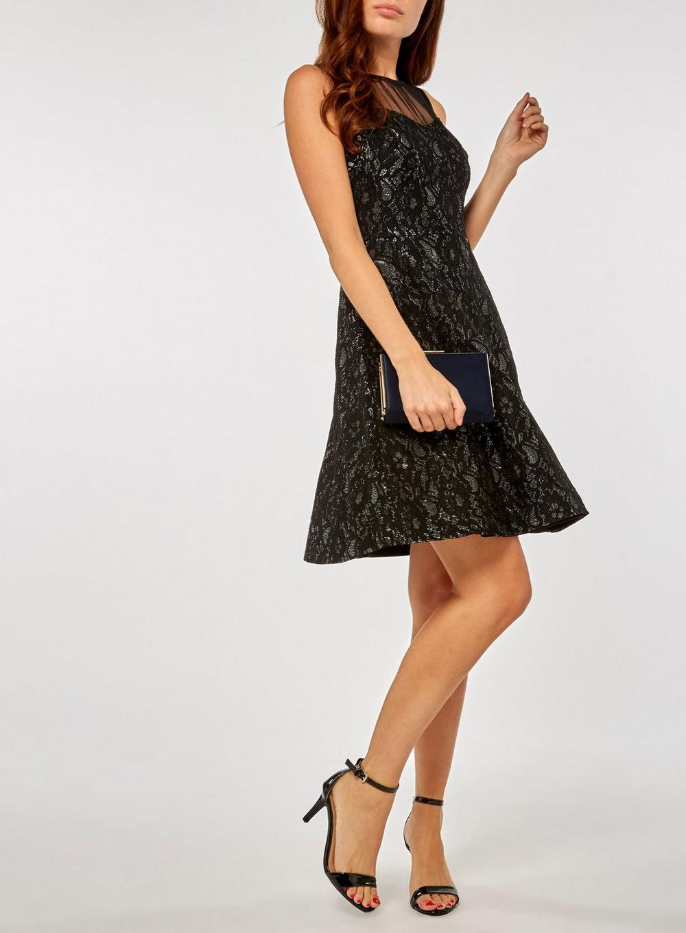 337852e84c0b Lyst - Dorothy Perkins Black And Silver Shimmer Lace Skater Dress in ...