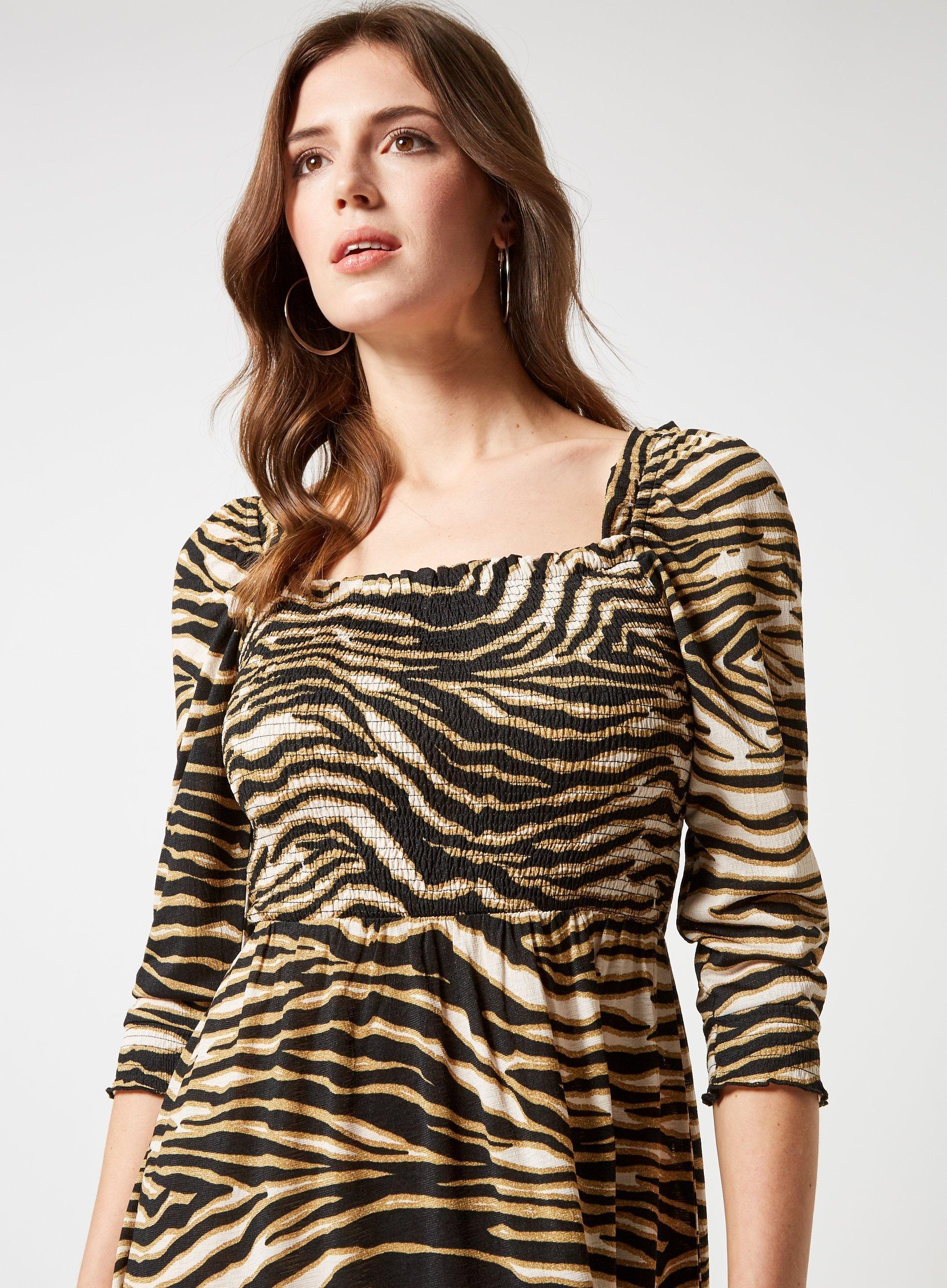 a175c2b2ca31d5 Lyst - Dorothy Perkins Multi Colour Cheetah Shirred Long Sleeves Midi  Skater Dress in Black