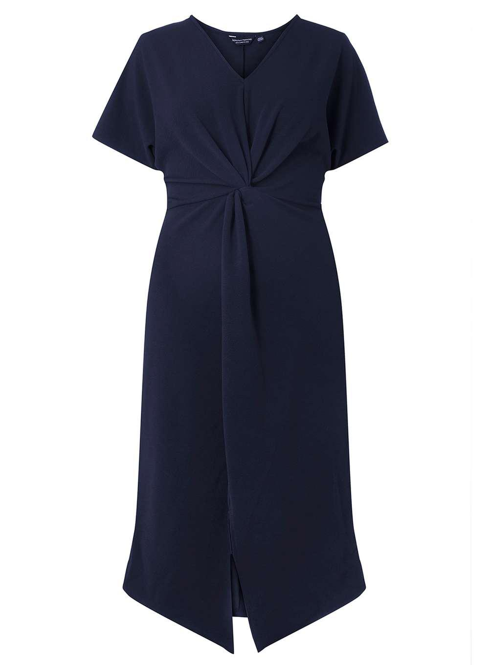 Dorothy Perkins Womens **DP Curve Navy Knot Front Shift Dress- Original Online Outlet 2018 TKm6iN5W
