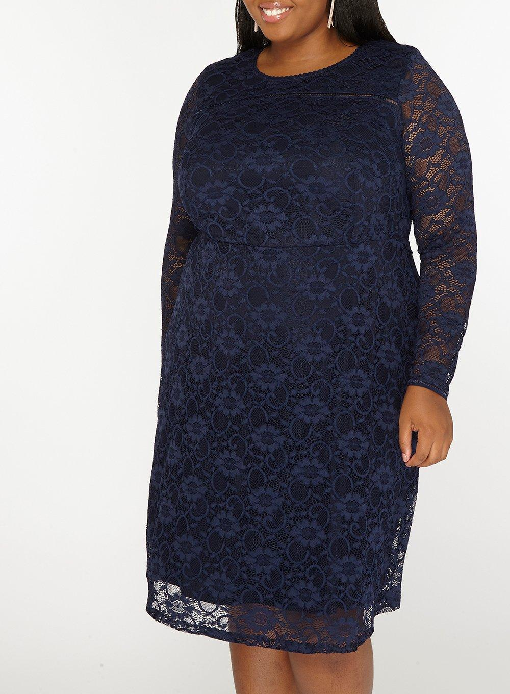 d6ae4ead7c94 Dorothy Perkins Dp Curve Navy Lace Long Sleeve Fit And Flare Dress ...