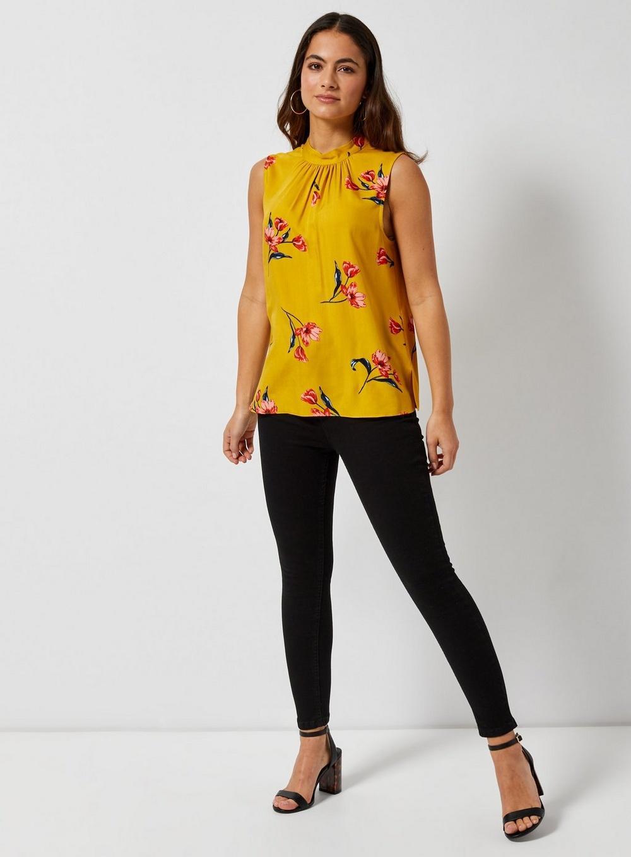 44f35094759397 Dorothy Perkins - Petite Yellow High Neck Floral Print Top - Lyst. View  fullscreen