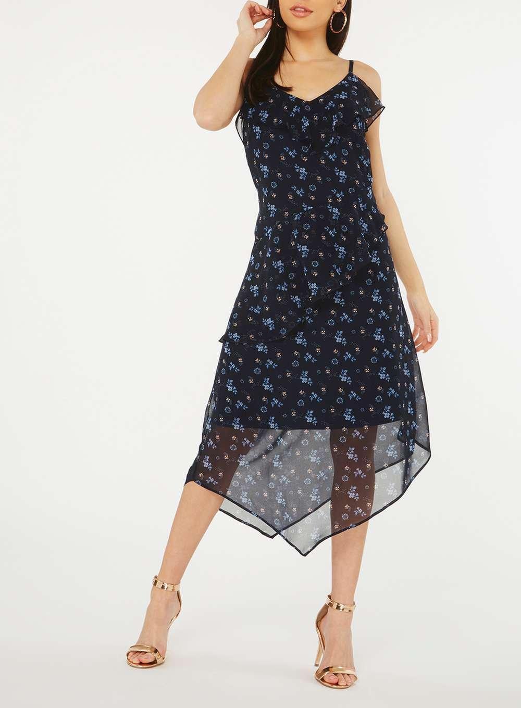 946f1bae91 Dorothy Perkins - Blue Navy Ditsy Floral Asymmetric Midi Skater Dress -  Lyst. View fullscreen