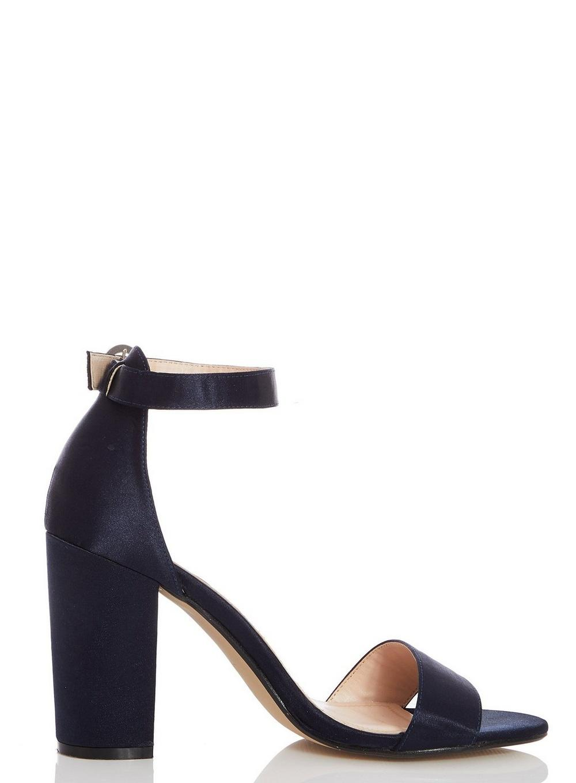 b7fa5c737ff Dorothy Perkins Quiz Navy Satin Block Heel Sandals in Blue - Lyst