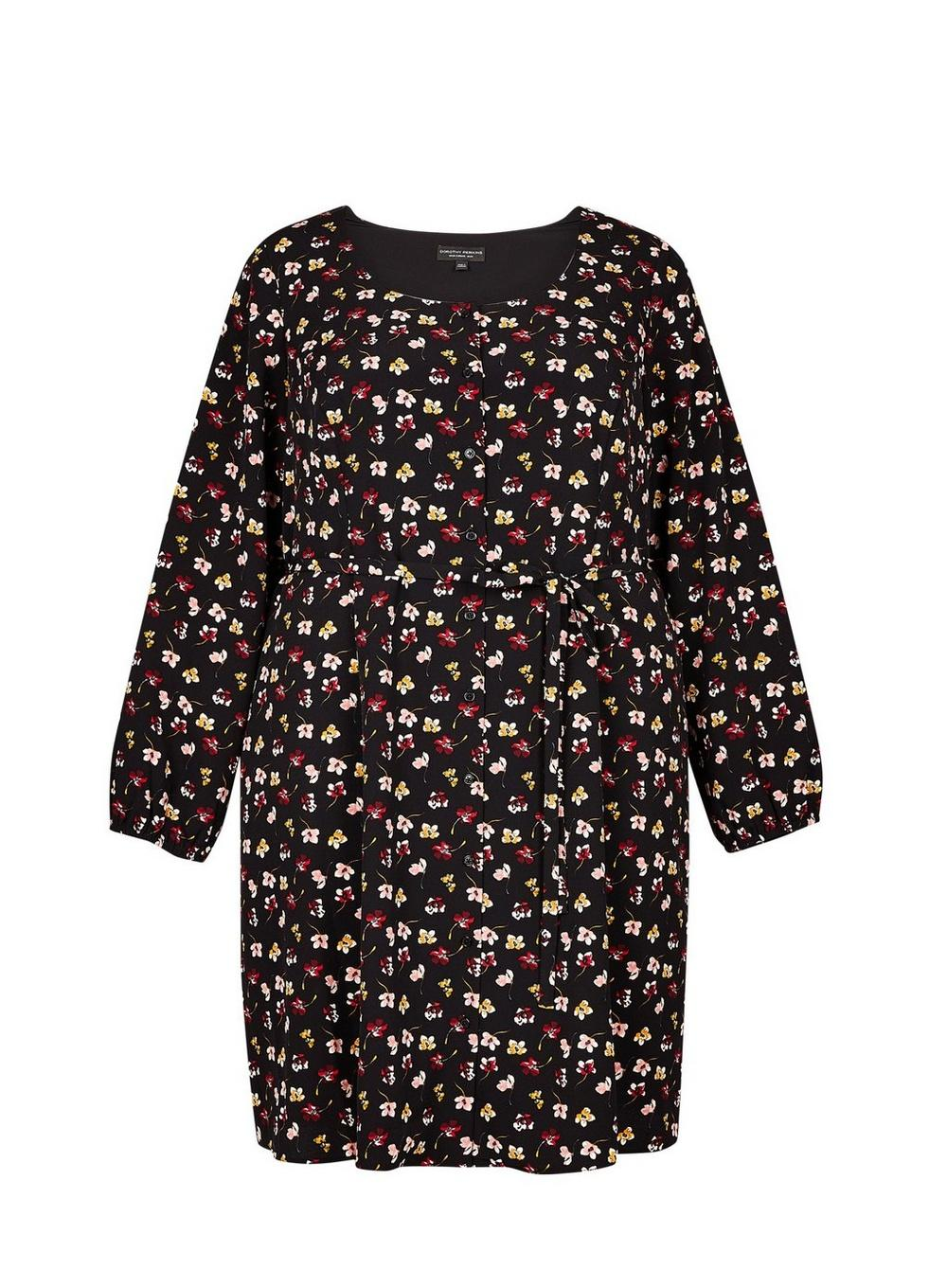 ea67e44f7e1 Dorothy Perkins. Women s Black Dp Curve Multi Colour Floral Print Button  Detail Tea Dress