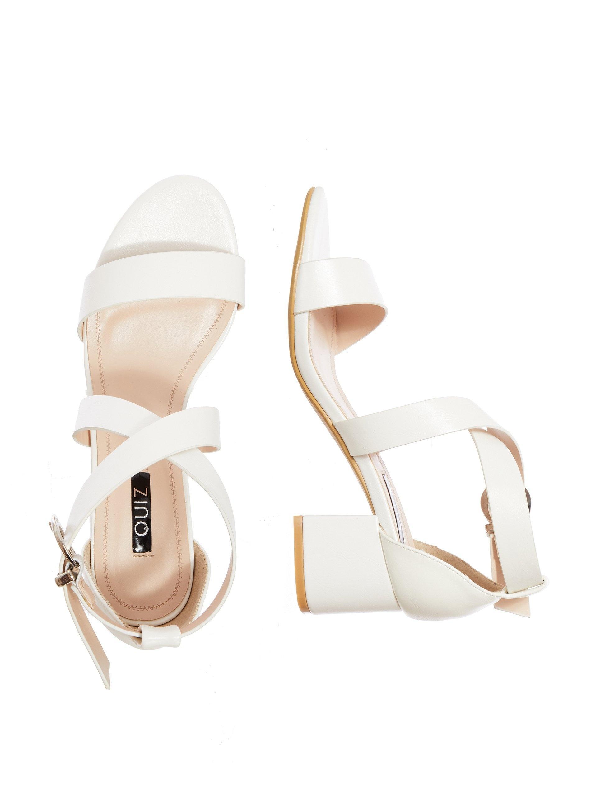 920521744 Dorothy Perkins Quiz White Strap Block Heel Sandals in White - Lyst