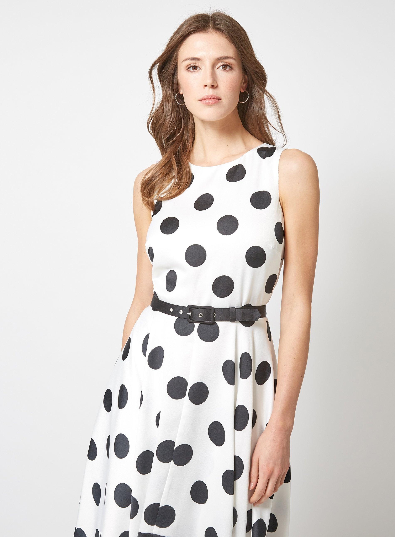 ff4b0e7231bdf Luxe by Lisa Vogel Ivory Spot Print Hanky Hem Skater Dress in White - Lyst