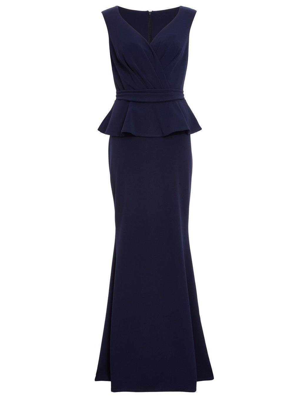 e323aec27018 Lyst - Dorothy Perkins Quiz Navy Peplum Detail Maxi Dress in Blue