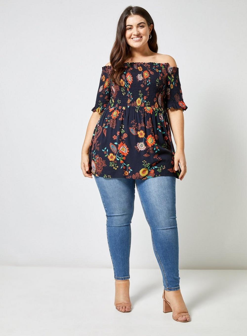 0ae9cf2d3ae324 Dorothy Perkins Dp Curve Navy Floral Print Shirred Bardot Top in ...