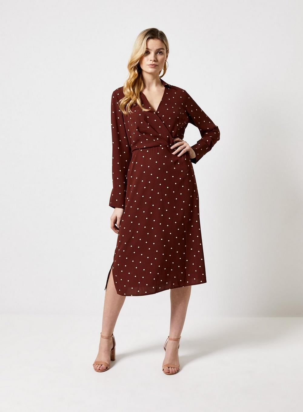 9c5765973e0 Dorothy Perkins - Brown Spot Print Collar Midi Dress - Lyst. View fullscreen