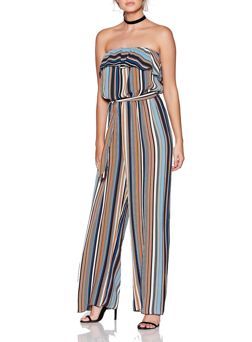 Lyst Dorothy Perkins Quiz Multi Coloured Striped Strapless